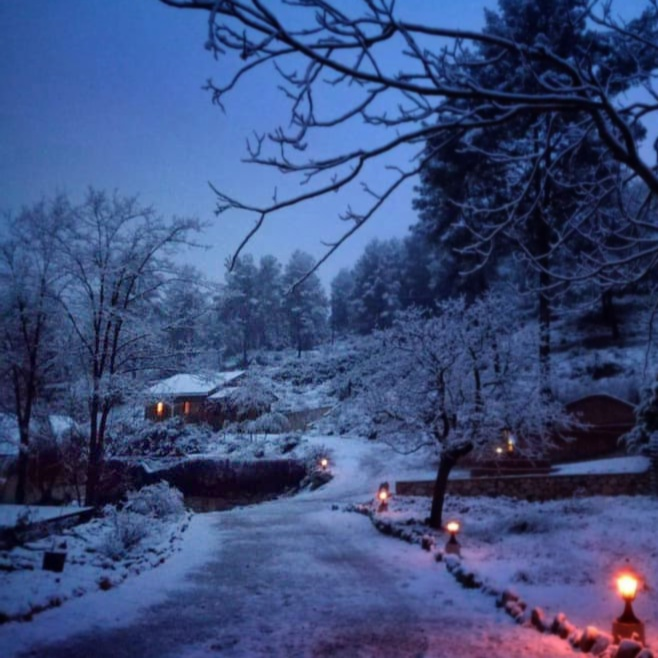 En la montaña, bajo la nieve